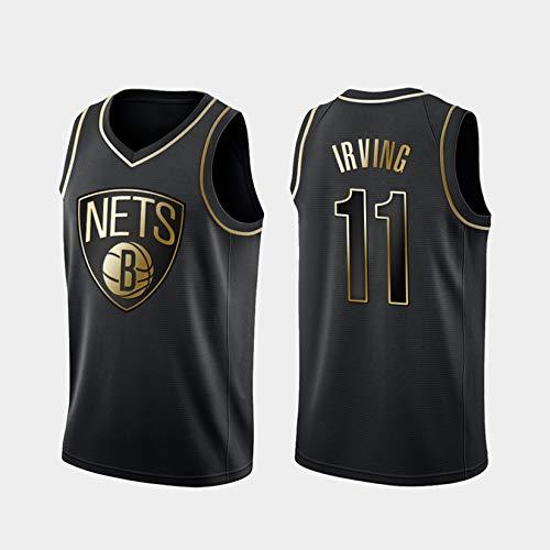 WGFI Herren Legende Basketball Trikot, Brooklyn Netze # 11 Kyrie Irving Basketball Uniform Schwarz Gold Edition Stickerei Mesh Atmungsaktives Swingman Jersey Ärmelloses T Black-L