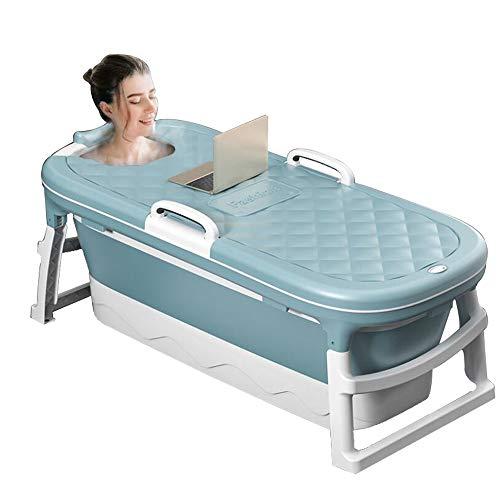 Bañera para Adultos,Bañera de plástico espesada,Bañera Plegable Portátil Hogar,Bañera para Natación para Bebés Hogar,para Uso Al vapor,Casa Sauna (Azul con Funda) (115 * 62 * 52 cm)