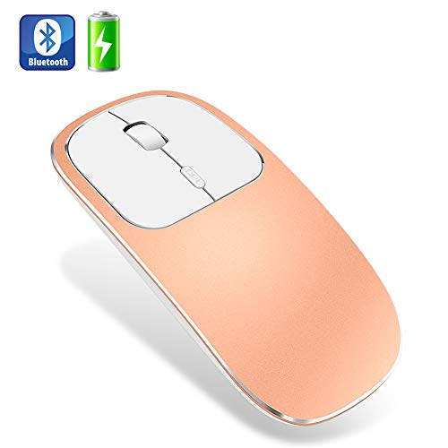Muis, metaal geruisloos Stil Draadloos Oplaadbaar Bluetooth Draadloos Optisch, Compatibel met Notebook PC Laptop,Orange