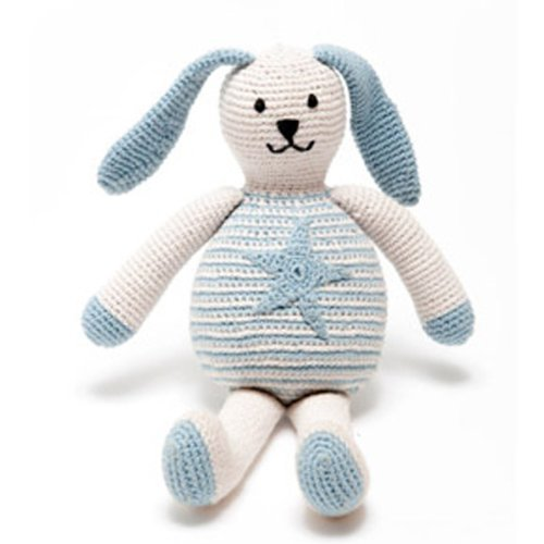 Pebble Motif Organic Bunny Star - duck egg blue