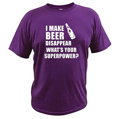 DNBUIFHSD T-Shirt was ist Dein Superpower Letter Print Geschenk Trinker T-Shirt Männlicher O-Ausschnitt Baumwoll-Tops Lustiges T-Shirt-Lila_XXL