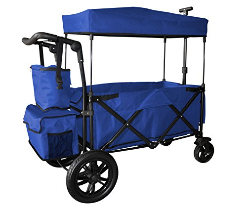 BLUE PUSH AND PULL HANDLE WITH REAR FOOT BRAKE FOLDING STROLLER WAGON...