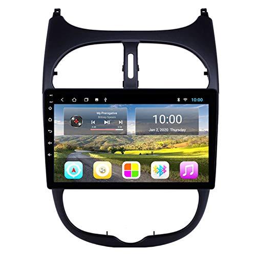 CARACHOME GPS Auto Radio HD Pantalla táctil Car Radio Audio 10 Pulgadas Android 10 para Peugeot 206 2000-2016 Soporte Bluetooth Manos Libres Control del Volante,WiFi 2+32g
