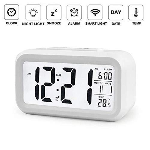 OurLeeme Reloj de Alarma Digital, batería Batería de Noche Pantalla LCD Sensor de luz Reloj de Alarma con función de Despertador Activado Luz Nocturna (Batería no incluida) (Blanco)