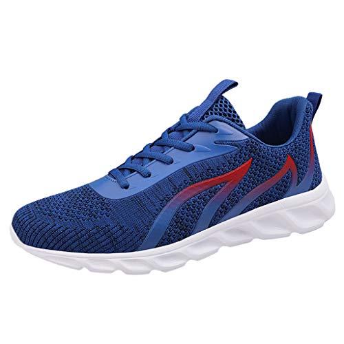 DAIFINEY Herren Turnschuhe rutschfest Verschleißfest Atmungsaktiv Straßenlaufschuhe Sportschuhe Laufschuhe Joggingschuhe Walkingschuhe Fitness Schuhe(Z-Blau/Blue,38)