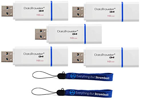 Kingston (TM) Digital 16GB (Five Pack) 16 GB Data Traveler 3.0 USB High Speed Flash Drive, Blue (DTIG4/16GBET) WIth (2) Everything But Stromboli (TM) Lanyards