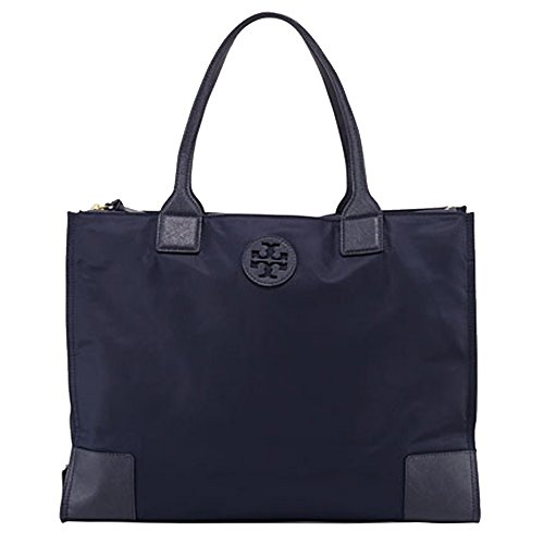 Tory Burch Ella Packable Tote Nylon TB Logo (Navy)