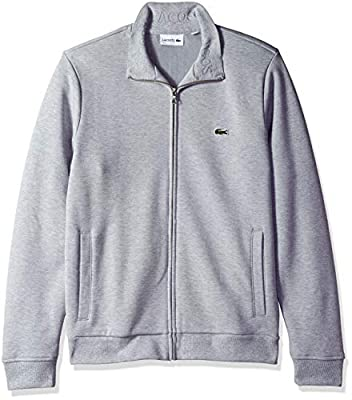 Lacoste Men's Long Sleeve Brushed Pique Fleece Full Zip W/Side Pockets, Silver Chine, Small by Lacoste