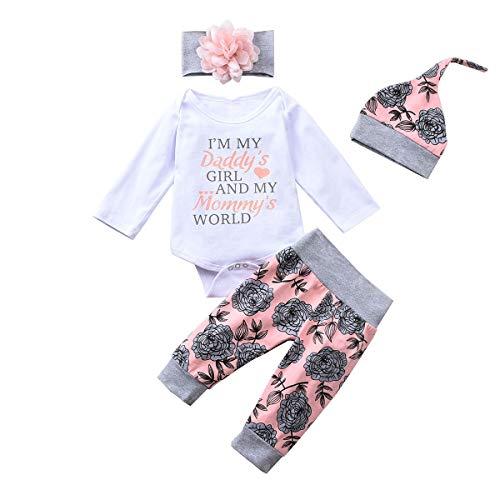 DERCLIVE Conjunto de ropa de bebé recién nacido, 4 piezas, mameluco y pantalones polainas, Blanco y rosa., 70 cm