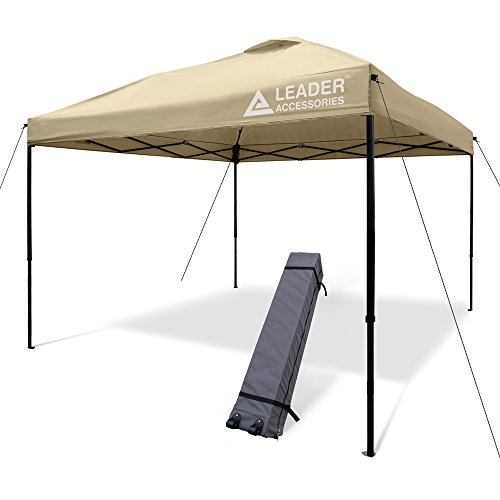 Leader Accessories 10 x 10 ft Instant Canopy Pop Up Canopy Straight Leg Wheeled Carry Bag Included