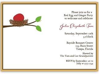 Red Egg and Ginger, Nest, Tree, Baby Shower Invitation, 10 Custom Printed Invites with White Envelopes,