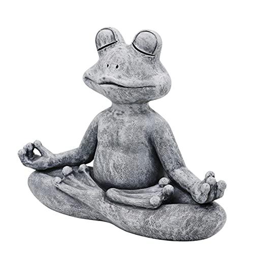 Estatua de rana meditadora de resina, animal zen para decoración de césped al aire libre, macizos de flores, jardines de hadas, estatua de rana zen para meditar en interiores o para hacer yoga y rana