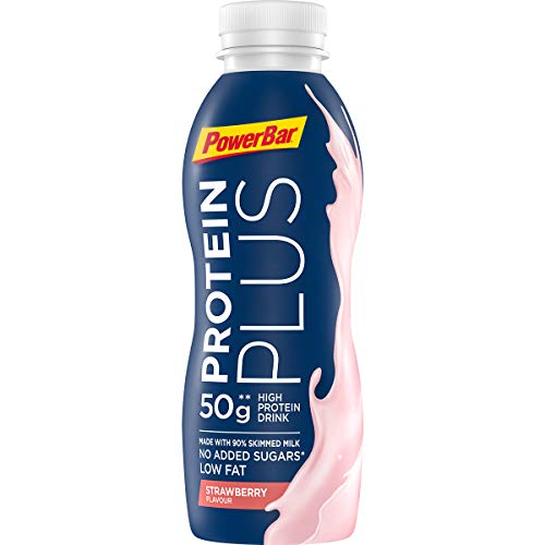 PowerBar Protein Plus High Protein Drink Strawberry 12x500ml - High Protein Low Sugar Sportmilch + Low Fat