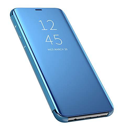 QBER pour XiaoMi Mi A3 Coque, Miroir Ultra Mince Anti-Rayures Anti-Choc Housse de Protection Clear View Etui Transparente Flip Case Cover pour XiaoMi Mi A3-Bleu