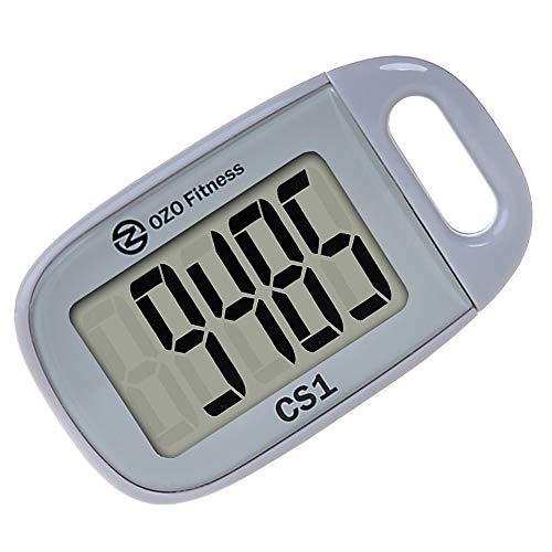 OZO Fitness CS1 Easy Pedometer for Walking | Step Counter with Large Display and Lanyard (Gray)