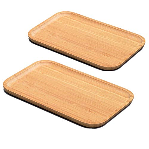 U/N HASPOLIN 2-Pack Set Bamboo Plates, Rectangular Trays Made of Alpine Bamboo, Cheese Plates Coffee Tea Serving Tray, Hotel Household Dishes,Size 11.8x7.9 Inch.