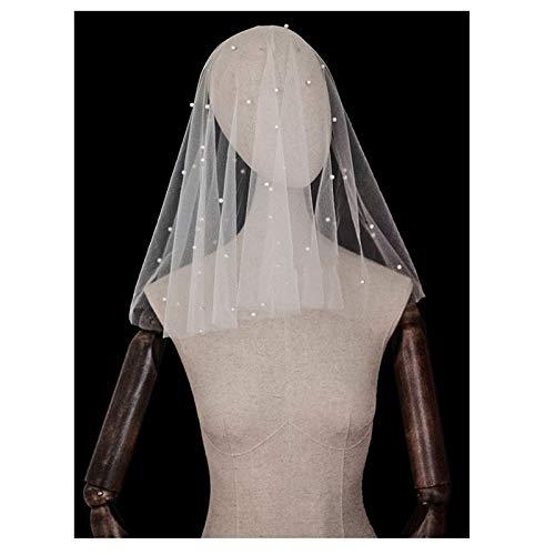 xingguang Perlas de velo de novia blanco marfil velo de novia jaula...