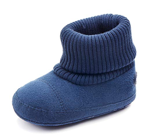 LOUECHY Baby Booties Warm Toddler Boots Cozy Infant Crib Booties for Baby Girls & Baby Boys LK016-Blue/12