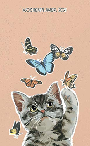 Wochenplaner 2021 - Katze und Schmetterlinge - Animo Agenda: Taschenkalender 2021 | Schulplaner | Kleinformat (10x16,5 cm) | Um alle Ihre Termine und ... bis Dezember 2021 zu notieren | 112 Seiten