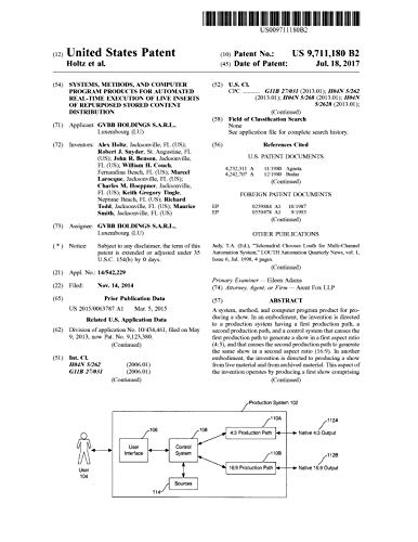 Systems, methods, and computer program products for automated real-time execution of live inserts of repurposed stored content distribution: United States Patent 9711180 (English Edition)