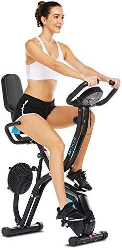 ANCHEER Bicicleta Estática Plegable Bicicleta de Ejercicio 10 Niveles de Resistencia Magnética, con App, Soporte para Tableta Capacidad de Peso:120kg (Negro (Respaldo+Giro de Cintura))
