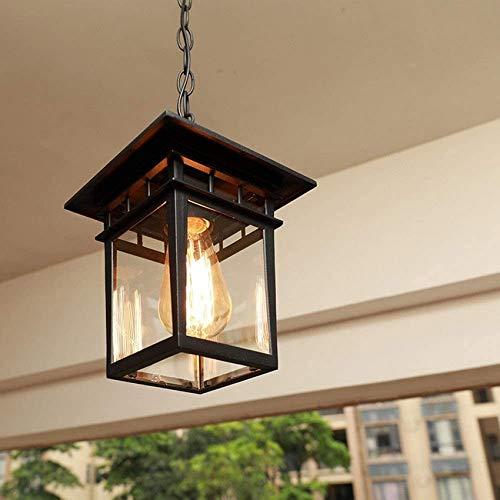 American Retro Industrial Outdoor Hanging Lantern Waterproof E27 Vintage Square Metal Hanging Pendant Lamp Garden Lamp Balcony Corridor Corridor Porch Chandelier Lighting (Color: Black)