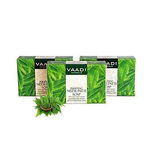 Vaadi Herbals Bio Neem-Seife Stab-Seife mit reinen Neemblättern - Antibakterielle Seife Value Pack 3 x 75 Gm