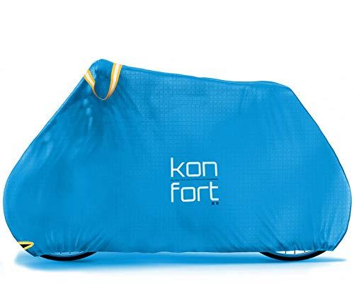 Kon-fort Funda Bicicleta Exterior Impermeable Tejido Ripstop Plus Alta Gama, Resistente y antidesgarro. Protección Total Lluvia, Sol, Polvo para bicis de Montaña y Carretera