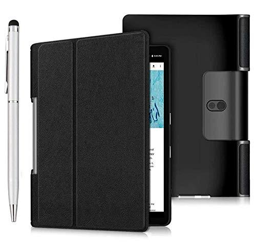 Msm-case - Funda de piel con soporte para Lenovo Yoga Smart Tab 10.1, color negro + 1 lápiz táctil