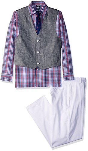 Izod boys 4-Piece Formal Vest Set with Shirt, Vest, Pants, and Tie, Bubble Gum/Lobster Tie, 14