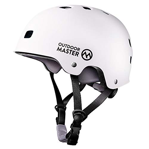 OutdoorMaster Skateboard Cycling Helmet - ASTM & CPSC Certified Two Removable Liners Ventilation Multi-sport Scooter Roller Skate Inline Skating Rollerblading for Kids, Youth & Adults - L - White