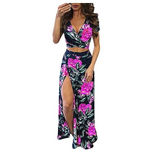 VEMOW Vestido Mujer Casual Largo Manga Corta, Vestido con Cordones Boho Floral de Playa Verano Vestido Dividido Sexy, Fiesta Falda Largo Maxi Vestidos Boho Chic de Noche Playa Vacaciones(A Rosa,XXL)