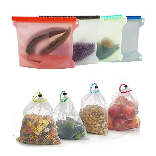 Reusable Silicone Food Storage Bags | Sandwich,Sous Vide,Liquid,Snack,Lunch,Fruit,Freezer Airtight Seal Versatile Bag Container | BEST for preserving and cooking,4 Silicone Bag + 4 Produce Storage Bag