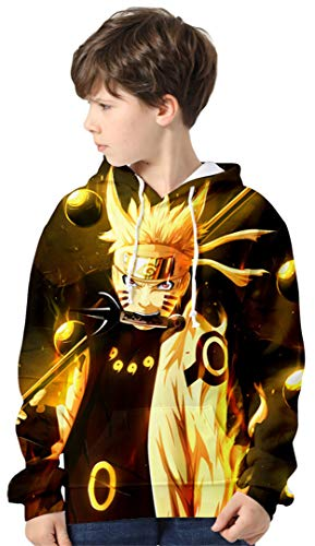 Silver Basic Sudadera con Capucha de Moda para Niños 3D Impreso Naruto con Capucha para Niños Loose Fit Japanese Anime Manga Naruto Poster Cosplay Disfraz Sudadera 110,451Rikudousennin Naruto-2