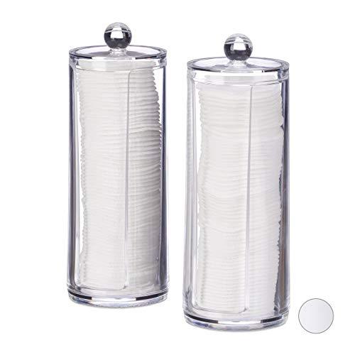 Relaxdays Pack de 2 Dispensadores Algodón con Tapa, Acrílico, Transparente, 20 x 7 cm