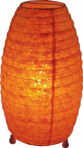 Guru-Shop Corona Reispapier Stehlampe 30 cm, Orange, Lokta-Papier, Farbe: Orange, Papierlampenschirme Oval