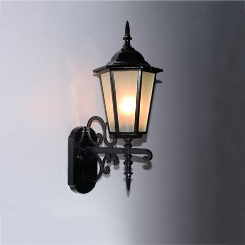 Lámpara de pared para exteriores Elegante E27 Lámpara de pared de vidrio impermeable para exteriores, Lámpara de aplique de pared de aleación de aluminio vintage, Balcón Pasillo Pasillo Lámpara de pa