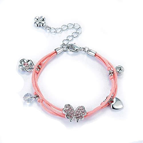 SKA Jewelry Bracelet for Women Butterfly Heart Charm Gift for Women Swarovski Crystal Leather Pink Bracelet for Girl