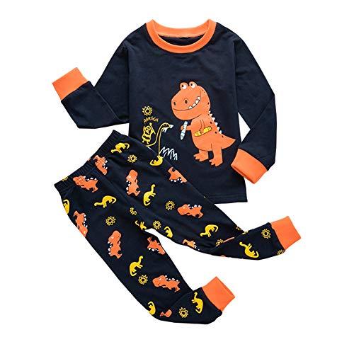 URMAGIC Conjuntos de Pijamas para bebés, Camisetas de Manga Larga con Estampado de Dinosaurio de Dibujos Animados para niños pequeños + Pantalones Conjuntos de Ropa de otoño Conjuntos