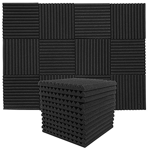 Paneles de Espuma Acústica 12 Piezas,MAQUITA Paneles Acústicos para Estudios, Estudios de Grabación, Oficinas, Sala Acústica, Insonorizacion acustica pared(30 x 30 x 2,5 cm)