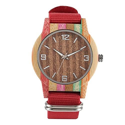 GIPOTIL Creative Cork Slag/Striped Colorful Wood Watch Orologio da Uomo con lancette Luminose Orologio da Donna Cinturino in Nylon Orologi Unisex Reloj de Madera, Red Band