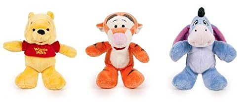 Disney - Pack incluye 3 peluches de 20cm Winnie the Pooh: Winnie & Tigger & Igor - Calidad Super soft