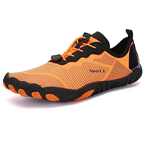 Zapatos de Agua,Verano Ciclismo al Aire Libre Secado Rápido Nadar Playa Zapatos Acuáticos para Deportes AcuáTicos Buceo Senderismo Vela Viajes,Orange-37