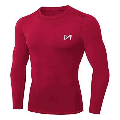 MEETYOO Camiseta Compresion Hombre, Ropa Deportiva Manga Larga Base Layers para Running Gym Ciclismo (Rojo-1, M)