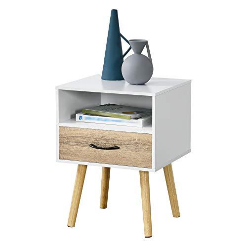 [en.casa] Beistelltisch Gävle 57 x 42 x 40 cm mit Schublade Nachttisch mit Ablagefach Weiß/Eiche