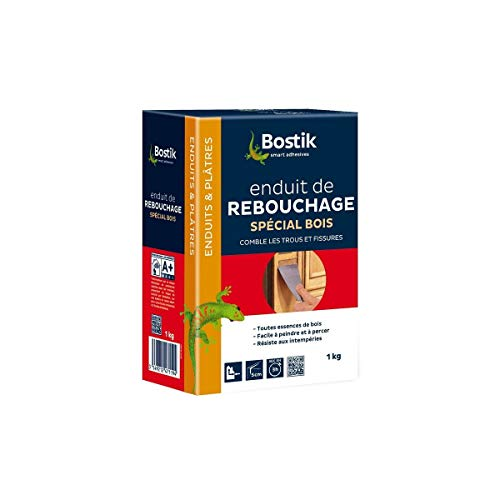 Bostik Enduit Rebouchage Bois Poudre 1 kg, Blanc
