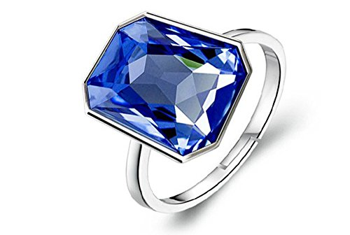 Klaritta Ring Silber Kristall Königsblau glänzend rechteckig verstellbar FR167