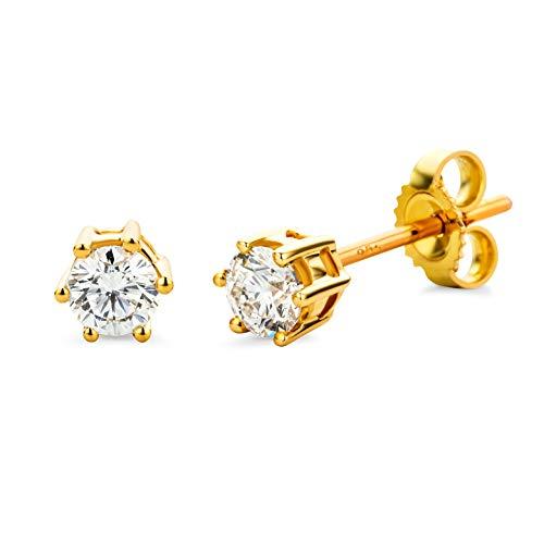 Miore Ohrringe Damen 0.50 Ct Solitär Diamant Ohrstecker aus Gelbgold 18 Karat / 750 Gold, Ohrschmuck mit Diamanten Brillanten