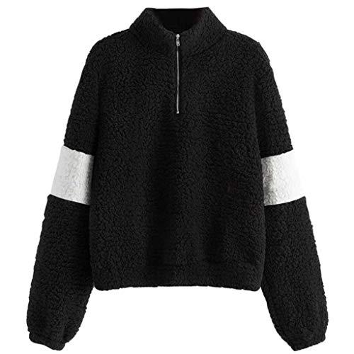 Vrouwen Hoodie Sweater Pullover 1/4 Zip Lange Mouw Winter Warm Fluffy Xmas Jumper Blouse Topjes