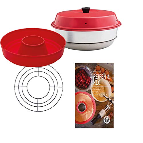 Omnia Backofen 4-teiliges Spar-Set | Backofen + Silikon-Backform 2.0 + Backideen Backbuch + Aufbackgitter